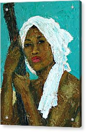 Black Lady With White Head-dress Acrylic Print by Janet Ashworth