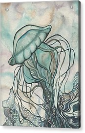 Black Lung Green Jellyfish Acrylic Print