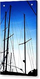 Black N Blue Hour Of Sailing Ships Acrylic Print by Rosemarie E Seppala