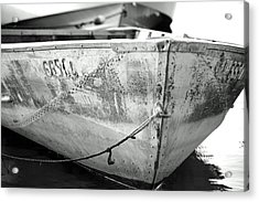 Black N White Row Boat Acrylic Print by Thomas Fouch