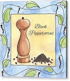 Black Peppercorns Kitchen Art Acrylic Print by Christy Beckwith