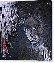 Acrylic Print featuring the painting black portrait 16 Juliette by Sandro Ramani