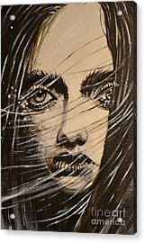 Acrylic Print featuring the painting Black Portrait 18 by Sandro Ramani