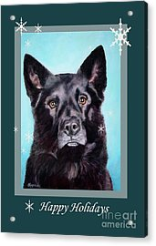 Black Shepard Mix Portrait Holiday Acrylic Print