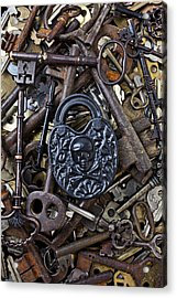 Black Skull And Bones Lock Acrylic Print by Garry Gay