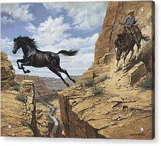 Black Stallion Jumping Canyon Acrylic Print