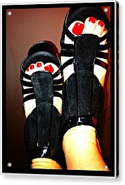 Black Suede Shoes Acrylic Print by Art by Dance