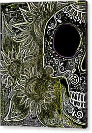 Black Sunflower Skull Acrylic Print by Lovejoy Creations