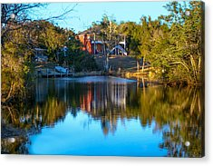 Black Water River In Blue Acrylic Print