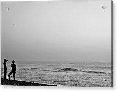 Black White Beach Acrylic Print by Sathish Sen