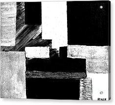 Black White Gray Abstract Acrylic Print by Marsha Heiken