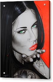 Adriana Lima - ' Black Widow ' Acrylic Print by Christian Chapman Art