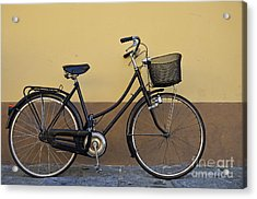 Black Woman Bicycle On Wall Acrylic Print by Sami Sarkis