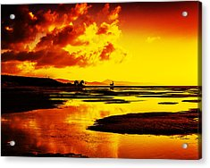 Black Yellow And Orange Sunrise Abstract Acrylic Print
