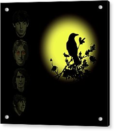 Blackbird Singing In The Dead Of Night Acrylic Print by David Dehner