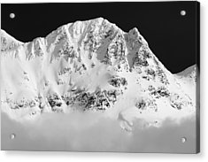 Blackcomb Above The Clouds In Black And White Acrylic Print