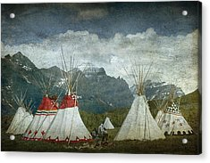 Blackfoot Camp At A Summer Powwow At St. Mary By Glacier National Park Acrylic Print by Randall Nyhof