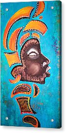 Acrylic Print featuring the painting Blackgolden Queen by Yolanda Rodriguez