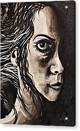 Acrylic Print featuring the painting Blackportrait 8 by Sandro Ramani
