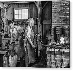 Blacksmith And Apprentice 2 Bw Acrylic Print by Steve Harrington
