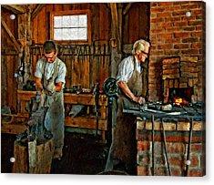 Blacksmith And Apprentice Impasto Acrylic Print by Steve Harrington