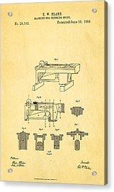 Blake Stone Crushing Patent 1858 Acrylic Print