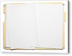 Blank Paper In An Open File Folder On White Background Acrylic Print by Dny59