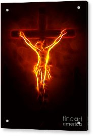 Blazing Jesus Crucifixion Acrylic Print by Pamela Johnson