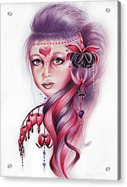Acrylic Print featuring the drawing Bleeding Heart by Sheena Pike