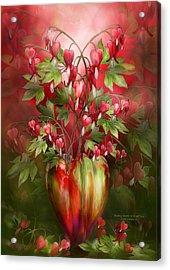 Bleeding Hearts In Heart Vase Acrylic Print by Carol Cavalaris