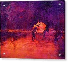Bleeding Sunrise Abstract Acrylic Print