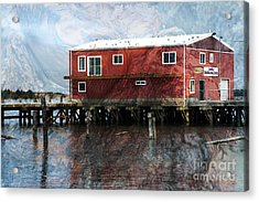 Blended Oregon Dock And Structure Acrylic Print by Ronald Hoggard