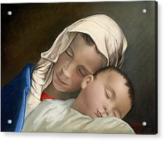 Baby Jesus And Blessed Mother Mary And Jesus Acrylic Print by Cecilia Brendel