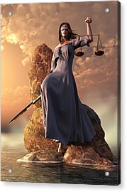 Blind Justice With Scales And Sword Acrylic Print by Daniel Eskridge