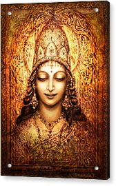 Acrylic Print featuring the mixed media Blissful Goddess by Ananda Vdovic