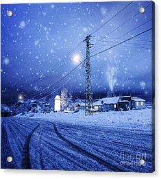 Blizzard In The Village Acrylic Print by Anna Om