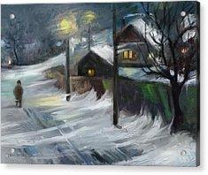 Blizzard Night Acrylic Print by Tancau Emanuel