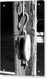 Block And Tackle 3 Bw Acrylic Print by Mary Bedy