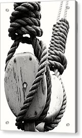 Block And Tackle Of Old Sailing Ship Acrylic Print by Jan Brons