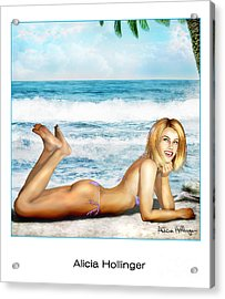 Blonde On Beach Acrylic Print