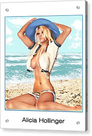 Blonde On The Beach With Opened Shirt Acrylic Print