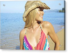 Blonde Woman In Hawaii Acrylic Print by Kicka Witte