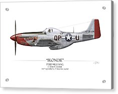 Blondie P-51d Mustang - White Background Acrylic Print by Craig Tinder