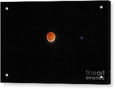 Acrylic Print featuring the photograph Blood Moon And Stars by Martin Konopacki
