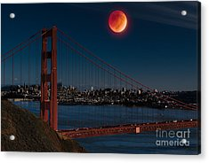 Blood Moon Over Golden Gate Bridge Acrylic Print by Dan Hartford