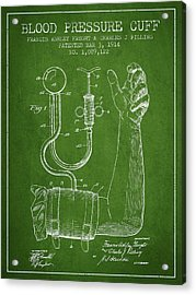 Blood Pressure Cuff Patent From 1914 -green Acrylic Print by Aged Pixel