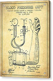 Blood Pressure Cuff Patent From 1914 -vintage Acrylic Print by Aged Pixel