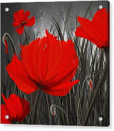 Blood-red Poppies - Red And Gray Art Acrylic Print