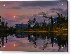 Bloodmoon Rise Over Picture Lake Acrylic Print by Eti Reid