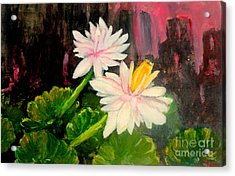 Acrylic Print featuring the painting Blooming At Night  by Jason Sentuf